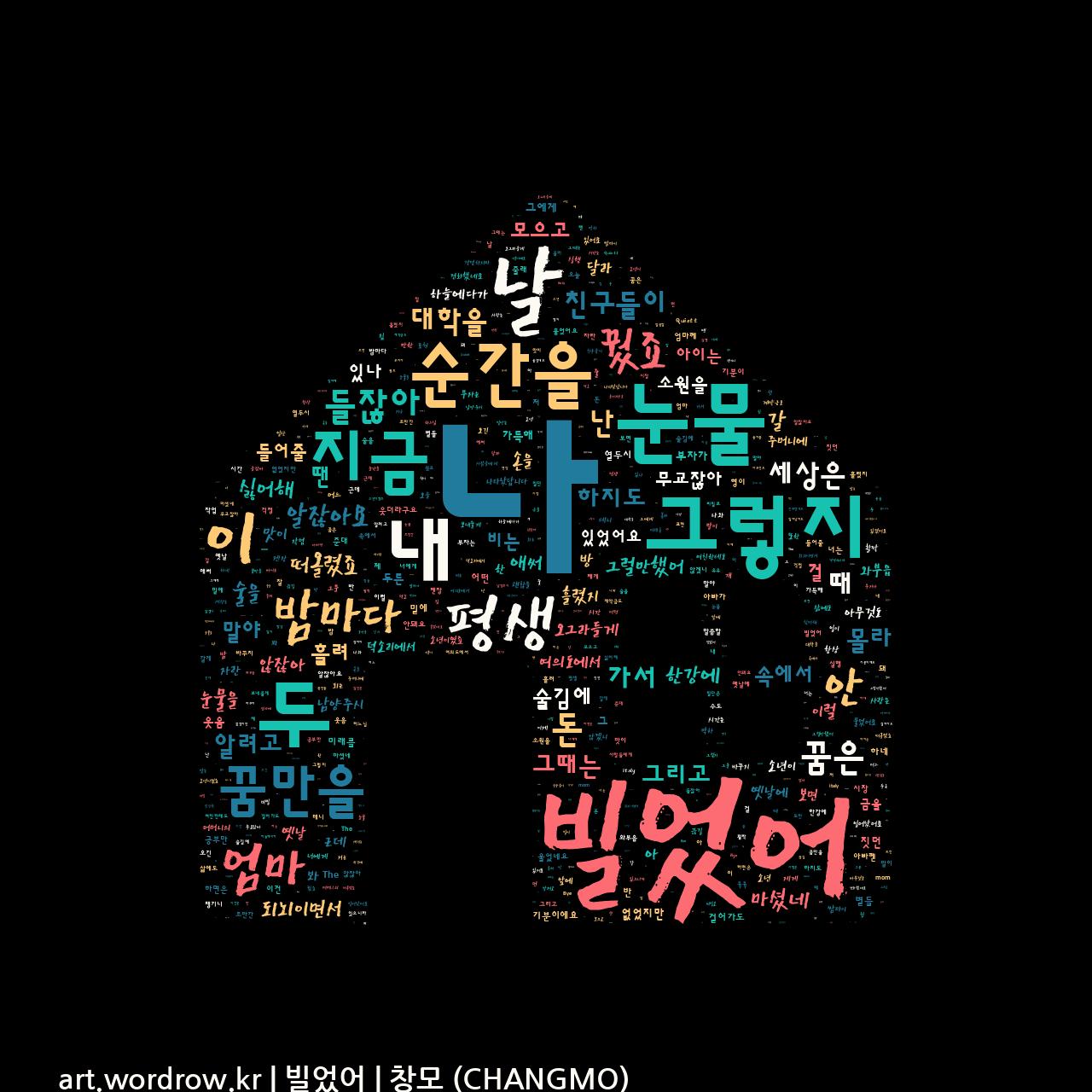 워드 클라우드: 빌었어 [창모 (CHANGMO)]-54